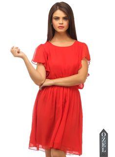 Frill sleeves narrow waist dress by Ozel Studio - V-DAY Gifts