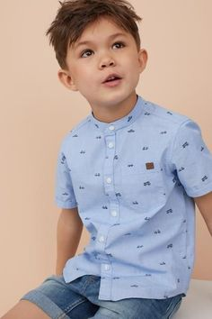 Boy Names Discover Band-collar Shirt - Blue/cars - Kids Baby Outfits, Outfits Niños, Boys Summer Outfits, Little Boy Outfits, Toddler Boy Outfits, Kids Outfits, Boys Dress Outfits, Boys Dress Clothes, Toddler Boys