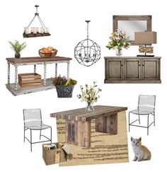 """Rustic Kitchen/ Dining Room"" by silverlime2013 on Polyvore featuring interior, interiors, interior design, home, home decor, interior decorating, Nourison, Dot & Bo, Gabby and Mikasa"