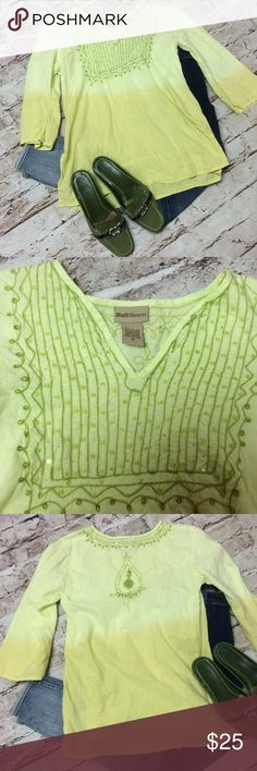"RUFF HEWN OMBRÉ DIP DYE BOHO TOP Pretty 2 tone green top with embroidery and jeweled trim. One vague mark noted in picture. Not quite a full length sleeve unless you're petite. Measurements lying flat Armpit to armpit 20"" length 26.5"" Ruff Hewn Tops Blouses"