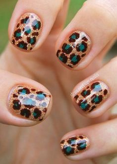 Gold glitter with teal leopard spots manicure by Dressed Up Nails absolutely-stunning-manicures-nail-art Cheetah Nail Designs, Leopard Print Nails, Leopard Spots, Leopard Prints, Animal Prints, Snow Leopard, Cheetah Nail Art, Fancy Nails, Love Nails