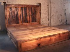 Reclaimed Rustic Pine Platform Bed with Headboard and 4 Drawers.