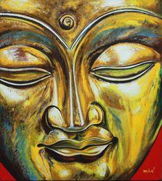 """gold buddha 36x30"""" oil on canvas by drago milic"""