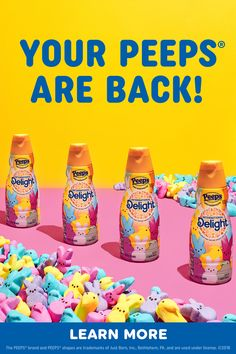 PEEPS® Flavored coffee creamer is back for Spring! PEEPS® Flavored coffee creamer is back for Spring! Easter Snacks, Easter Treats, Easter Recipes, Dessert Recipes, Iced Coffee Drinks, Starbucks Drinks, Peeps Flavors, Cute Food, Yummy Food
