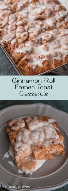 Looking for an easy and delicious breakfast for the holidays? This Cinnamon Roll French Toast Casserole is a simple brunch or breakfast recipe and so good! | recipes | breakfast | brunch | recipes | cinnamon roll | french toast | sweets | Christmas food | Breakfast Crockpot Recipes, Easy Brunch Recipes, Dessert Recipes, Fall Recipes, Drink Recipes, Holiday Recipes, Delicious Desserts, Yummy Food, Cinnamon Roll French Toast