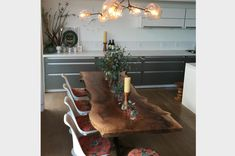 Walnut rooted dining table by live edge design