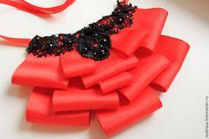 Купить Колье - черный, репсовая лента, кружево, цепочка, декоративные элементы, колье, репсовая лента