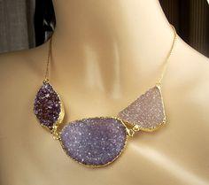 Druzy Necklace Jasper Crystal Geode Large Crystal Slice Statement Necklace