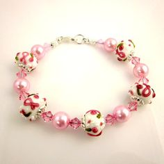 Pink Ribbon Bracelet Breast Cancer Awareness by ramonahall on Etsy, $55.00