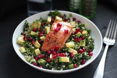 Superfood Salad with Pan-Seared Salmon. Chicken instead. Exchange 1 1/2 cups Kale with Three cups total of Kale, Spinach, and lettuce. Half Vinaigrette. Hubby went back for seconds. Toddler gobbled hers up too!
