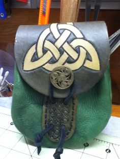 Green and Brown Celtic Bag by lkgoodwin