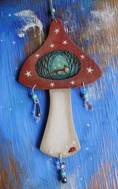 The Fox And Star Magic Forest Wooden Toadstool by karendavis