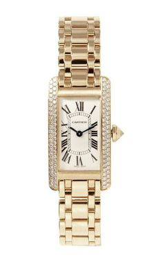 Cartier 18K Yellow Gold Diamond Tank Americaine Quartz Watch From Beladora by Beladora for Preorder on Moda Operandi