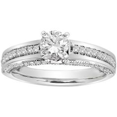 14k White Gold .50 ct Round Center Diamond Engagement Ring (1.00 cttw, H-I Color, I1-I2 Clarity) Amazon Curated Collection. $1755.00. Pave set engagement ring with round brilliant center diamond. .50 ct round brilliant center diamond. Made in India. Diamonds on all sides of ring. The total diamond carat weight listed is approximate. Variances may be up to .05 carats. Made in India