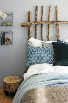 branch headboard in rustic bedroom Driftwood Headboard, Western Headboard, Country Headboard, Home Bedroom, Bedroom Decor, Bedroom Ideas, Bedroom Inspiration, Bedroom Wall, Bedroom Furniture