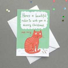 'Cat And Beautiful Robin' Christmas Card