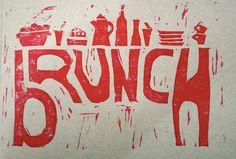 Linocut I made for the first brunch of 2015  #linocut #brunch #printmaking #DIY #invitation #stamps