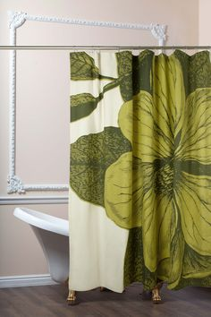 botanical shower curtain in chartreuse design by thomas paul