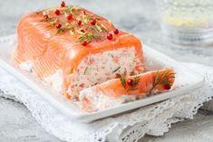 Préparation : 1. Coupez le saumon en gros dés. Pochez le poisson dans une casserole remplie d'eau, pendant 10 minutes. Égouttez et laissez refroidir. 2. Chemisez un moule à cake de film trans…
