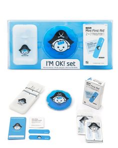 I'M OK!® Set. Pocket case, 24 accompanying I'M OK!® bandages and 6 non-sting antiseptic swabs. To cool down fevers, headaches and bumps the set also contains the cheerful I'M OK!® cold pack. Perfect for parents on the go.