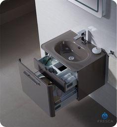 Fresca FVN1724GR Brillante Wall Mount Modern Bathroom Vanity in Stone Grey