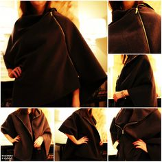 Hammers and High Heels: Head Over Heels DIY Friday: Multi-Wear Zipper Cape (Cape/Poncho Revamp)