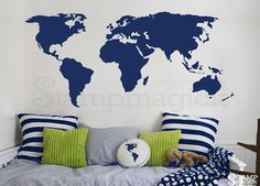 World Map Wall Decal / Sticker for kids bedroom, nursery or home. Design K135DG - World Map Wall Decal (choice of removable matt vinyl, Chalkboard, or white dry-erase vinyl)  ♥ P R O D U C T - D I M E N S I O N S ♥ Standard size options are available: 10 x 21 16 x 35 22 x 48 32 x 70 36 x 80  ♥ D E C A L - M A T E R I A L S ♥ Option 1: Removable Matt Vinyl (choose from 30 colors; default dark grey) We use high-quality commercial-grade removable wall decal which creates a beautiful paint-...