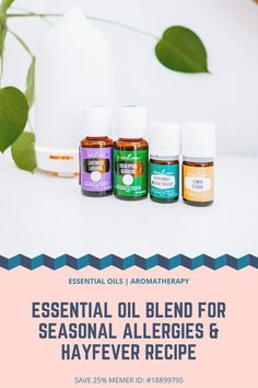 Easy essential oil recipe for Seasonal allergies & hay fever sufferers. No fun to spend Spring on antihistamines. End runny nose watery-eyed. Essential Oils For Headaches, Essential Oils For Sleep, Essential Oil Uses, Doterra Essential Oils, Young Living Essential Oils, Essential Oil Combinations, Seasonal Allergies, Diabetes, Young Living Oils