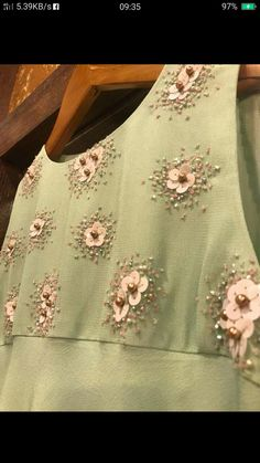 Diy Embroidery Patterns, Embroidery On Kurtis, Pearl Embroidery, Hand Embroidery Dress, Kurti Embroidery Design, Embroidery On Clothes, Embroidery Works, Embroidery Stitches, Hand Work Blouse Design