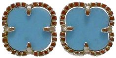 STERLING SILVER CLOVER SHAPE EARRING WITH TURQUOISE(.925 BASE)