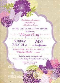Butterfly Baby Shower Invitation by GrizzShop on Etsy, $20.00