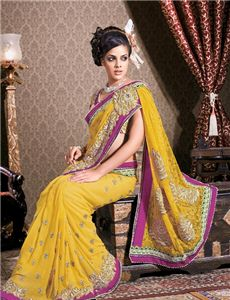 Adah_DN.15015 - Fancy Gold Color Embroidered Saree