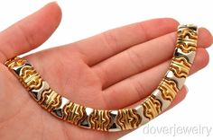 Design Italian 18K Gold Wide Necklace 77.0 Grams NR