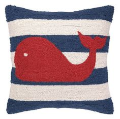 Red Whale on Blue and White Striped Nautical Pillow
