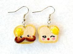 Kawaii Toast Earrings, Mr. (with Mustache) and Mrs. Toast, Cute with Melted Butter.   via Etsy.