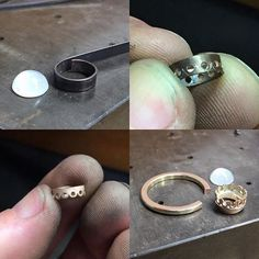 Here's how yesterday's moonstone ring was put together. Was a fun little one to make. #handmade #rosegold #gold #ring #moonstone #jewelry #customjewelry #jewelrydesign #jewelrystudio #studio #workshop #adelaide #adelaidejeweller #supportlocal #supportsmallbusiness #supporthandmade #teepsthejeweller