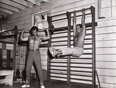 John Derek and Charlton Heston physical training for The Ten Commandments