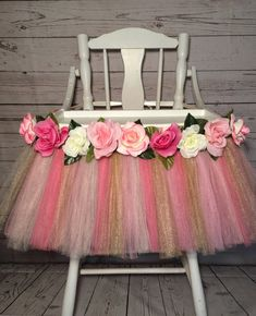 Pink Gold and Light Pink High Chair Tutu-Highchair tutu -Highchair skirt-Pink Gold and Light Pink Birthday-Pink Gold and Light Pink by AvaryMaeInspirations on Etsy (Diy Birthday Sister) Fairy Birthday Party, Birthday Tutu, Gold Birthday, Girl First Birthday, First Birthday Parties, Birthday Party Decorations, First Birthdays, Birthday Ideas, Happy Birthday