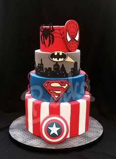Marvel Comics - Visit to grab an amazing super hero shirt now on sale! Marvel Cake, Superman Cakes, Wedding Cake Paris, Wedding Cakes, Superhero Birthday Cake, Superhero Cake Pops, Superhero Wedding Cake, Superhero Party, 5th Birthday