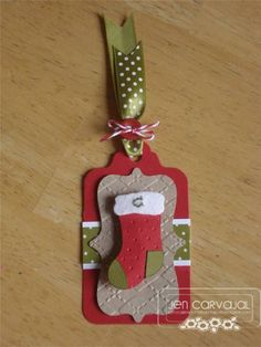 Christmas Stocking Tag i like the ribbon top Christmas Paper Crafts, Christmas Gift Wrapping, Christmas Tag, Handmade Christmas, Christmas Stockings, Christmas Presents, Handmade Gift Tags, Xmas Cards, Gift Cards