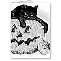 Gato y calabaza Halloween Tarjeta De Felicitación