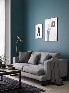 Madison Seat Sofa in Shadow Brushed Linen Cotton Teal Living Rooms, Living Room Sofa Design, Living Room Color Schemes, Living Room Colors, Living Room Modern, My Living Room, Contemporary Apartment, Contemporary Sofa, Modern Sofa