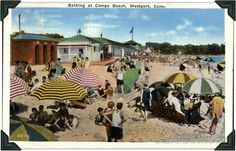 Vintage postcard of Compo Beach in Westport. Always a great place to hang out.