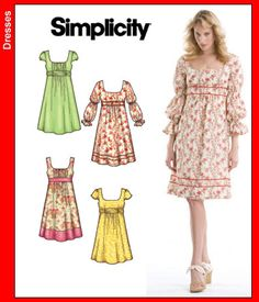 S3777 * Simplicity Misses' Dress ** FABRICS: Laundered Cottons, Seersucker, Silks and Silk Types, Challis, Crepe, Crinkled Gauze, Double Georgette, Soft Lightweight Linen and Linen Blends.