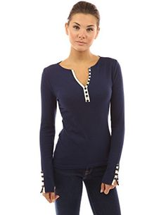 PattyBoutik Women's Notch Neck Buttons Trim Top (Navy Blue M) - http://best-women-shop.xyz/2016/06/26/pattyboutik-womens-notch-neck-buttons-trim-top-navy-blue-m/