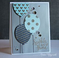 NicholMagouirk_SSS DecemberCardKit1—used the Balloons and Patterns Stencils as well as the Sparkle and Shine Stamp Set to create patterns on the die cut Balloons on the card.