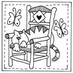 Ideas For Embroidery Cat Ideas Red Brolly Broderie Primitive, Primitive Embroidery, Primitive Stitchery, Quilting Stencils, Quilting Designs, Back Stitch, Cross Stitch, Embroidery Patterns, Tela