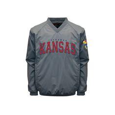 Men's Franchise Club Kansas Jayhawks Coach Windshell Jacket, Size: Medium, Grey