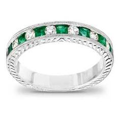princess cut emerald and 14 ct tw diamond wedding band in 14k