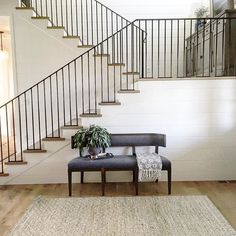This stair railing turned out just as we'd envisioned it! #midwayfarmhouse
